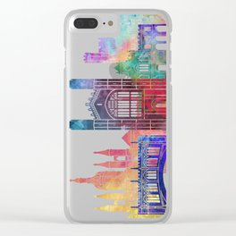 Cambridge landmarks watercolor poster Clear iPhone Case