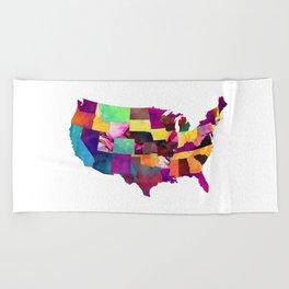 USA map art 1 #usa #map Beach Towel