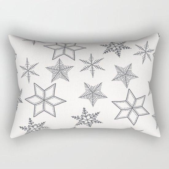 Grey Snowflakes On White Background Rectangular Pillow