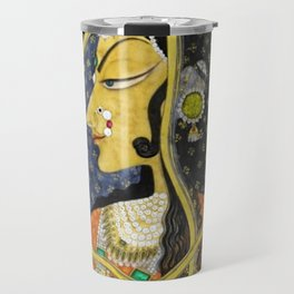 Bani Thani female portrait painting in traditional Rajasthani, the Mona Lisa of India by Nihal Chand Travel Mug