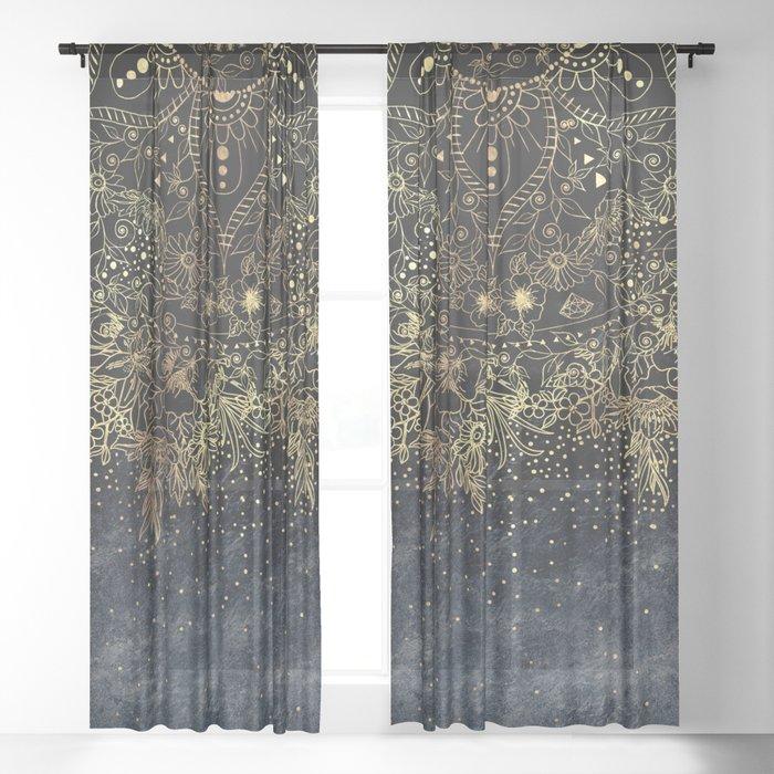 Stylish Gold floral mandala and confetti Sheer Curtain