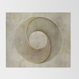 Geometrical Line Art Circle Distressed Gold Throw Blanket