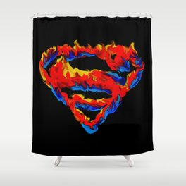 Superman in Flames Shower Curtain