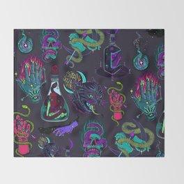 Neon Demons Throw Blanket