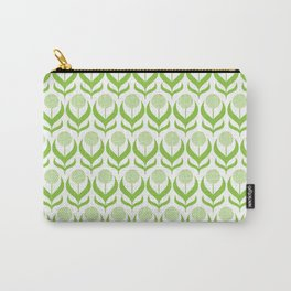 Modern Green Dandelions Floral Flower Pattern Carry-All Pouch