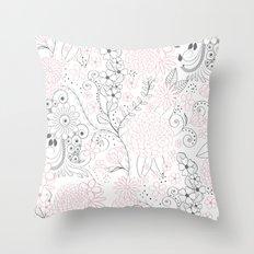 Classy doodles hand drawn floral artwork Throw Pillow