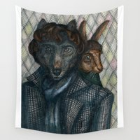 moriarty Wall Tapestries featuring Sherlock Wolf and Dr. Rabbit by Mari Anrua