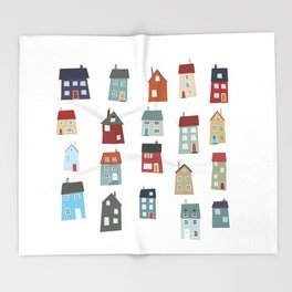 Little Houses Throw Blanket