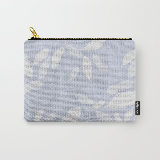 Feather Pattern Light Blue Carry-All Pouch