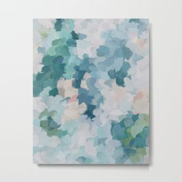 Mint Green Sky Blue Teal Blush Pink Abstract Nature Flower Wall Art, Spring Blossom Painting Metal Print