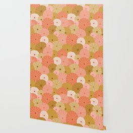 Sea Urchins in Coral + Gold Wallpaper