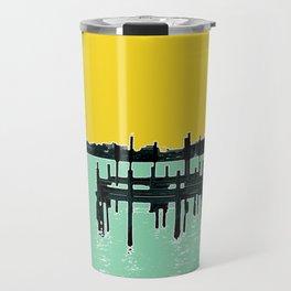 Jacksonville, Florida - modern bold photography print - Pier, dock, & skyline - St. John's river Travel Mug