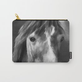 Watercolor Horse Portrait (Black and White) Carry-All Pouch