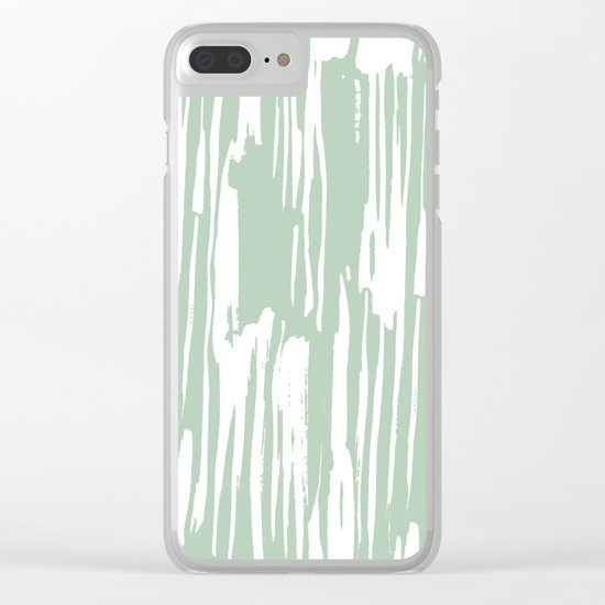 Bamboo Stripe Pastel Cactus Green and White Clear iPhone Case