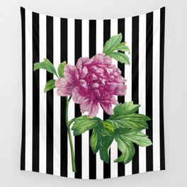 Pink Peony Black Stripes Chic Wall Tapestry
