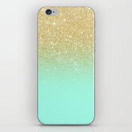 Modern gold ombre mint green block iPhone Skin