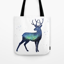 Galaxy Reindeer Silhouette with Northern Lights Tote Bag