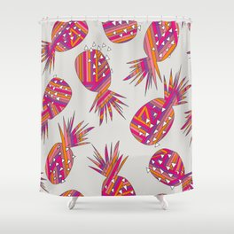 Geometric Pineapples Summer Print Shower Curtain