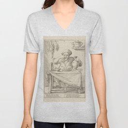 Vintage Print - Giuseppe Mitelli - The Lazy Man Eating a Chicken (1683) Unisex V-Neck