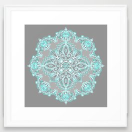 Teal and Aqua Lace Mandala on Grey Framed Art Print