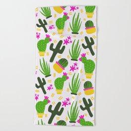 Cactus Pattern of Succulents Beach Towel