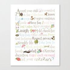 ABCs of Parenting - Woodland - Pink Canvas Print