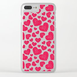 Scribbled hearts Clear iPhone Case