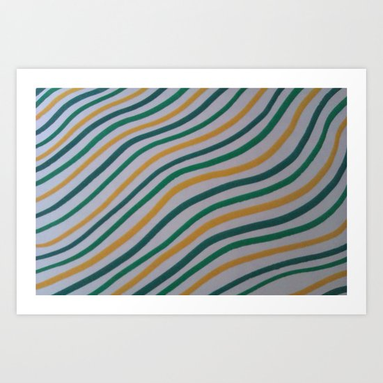 Green & Yellow Stripes Art Print