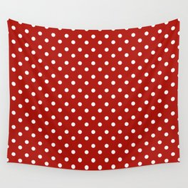 White & Red Navy Polkadot Pattern Wall Tapestry