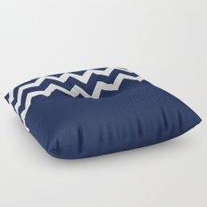 Indigo Navy Blue Chevron Block Floor Pillow