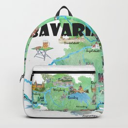 Bavaria Germany Illustrated Travel Poster Map Backpack