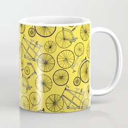 Monochrome Vintage Bicycles On Bright Yellow Coffee Mug