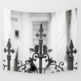 New Orleans Marigny Black and White Fence Wall Tapestry