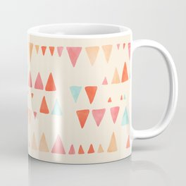 Back & Forth - triangle abstract pattern in peach, aqua & cream Coffee Mug