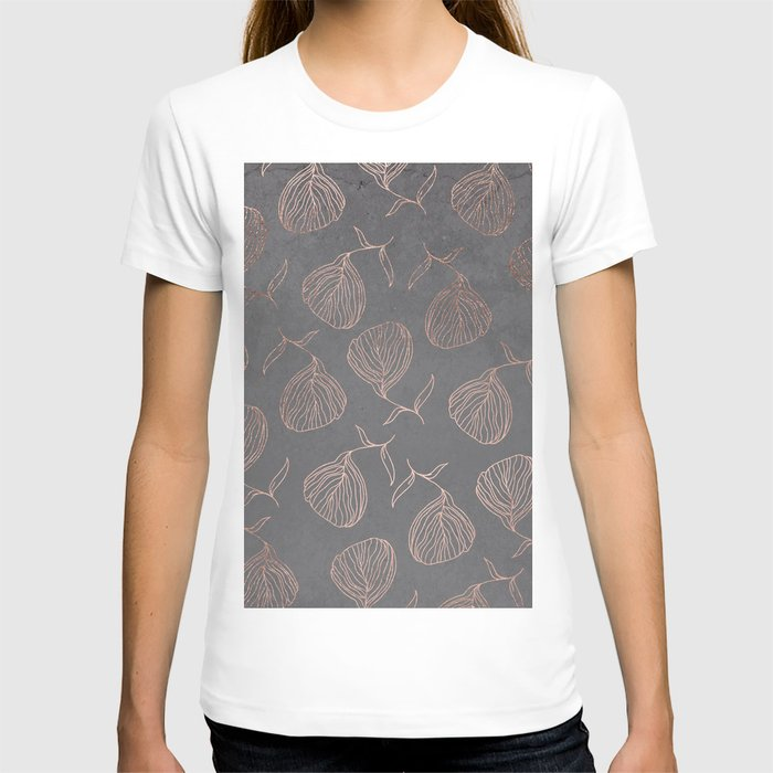 Modern floral hand drawn rose gold on grey cement graphite concrete T-shirt
