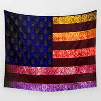 lsd Wall Tapestries featuring 50 SHADES OF PEACE - 079 by Lazy Bones Studios