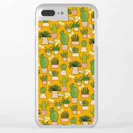 Cactus Cat Yellow Garden Clear iPhone Case