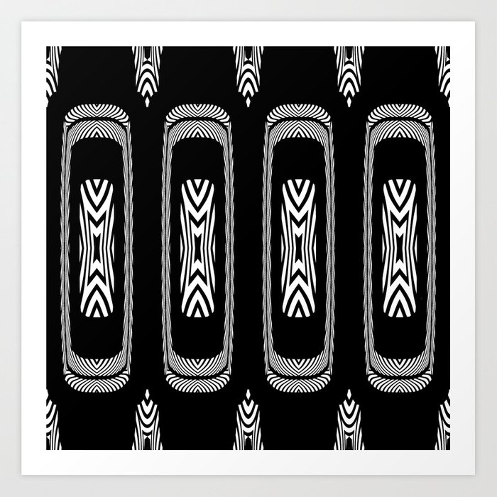 Tribal Black and White African Shield Design Art Print by patriciannek