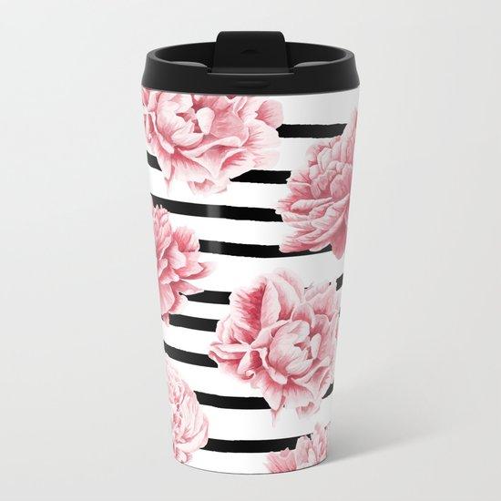 Simply Drawn Stripes and Roses Metal Travel Mug
