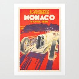 Grand Prix Monaco 1930 Vintage Art Print
