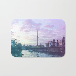 Berlin at Sunset - Illustration - Alexanderplatz - Alex TV Tower Bath Mat