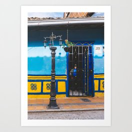 Man in the Shadows of Guatape, Colombia Art Print