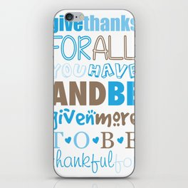 Give Thanks Quote In Blue iPhone Skin