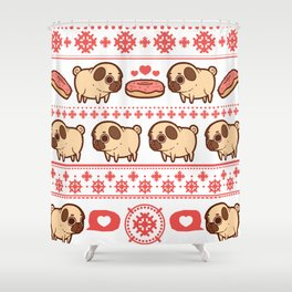 Puglie Christmas Sweater (Red) Shower Curtain