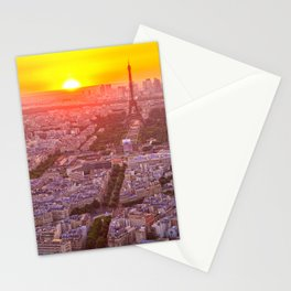 Sunset in Paris City Stationery Cards