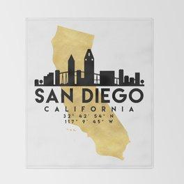 SAN DIEGO CALIFORNIA SILHOUETTE SKYLINE MAP ART Throw Blanket