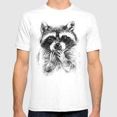 Surprised raccoon White Mens Fitted Tee SMALL