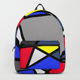 Triangels Geometric Lines blue - red - yellow - grey Backpack