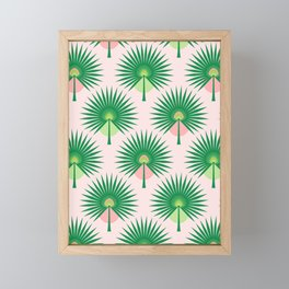 Fan Palm Leaves on Pink Framed Mini Art Print