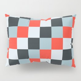Stainless steel knife - Pixel patten in light gray , light blue and red Pillow Sham